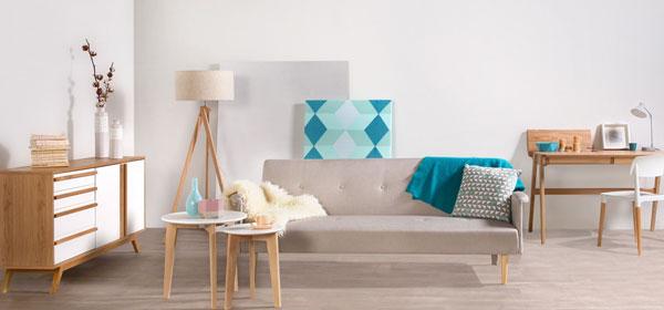 scandinave déco décoration bleu gris blanc canapé plaid lampe coussin table losange
